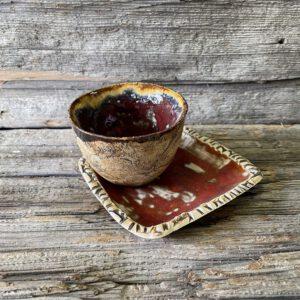 Espressotasse und Unterteller rot