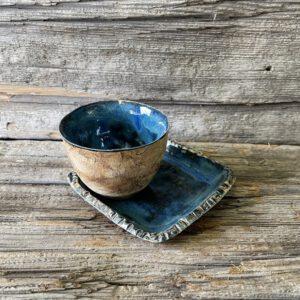Espressotasse und Unterteller tiefseeblau